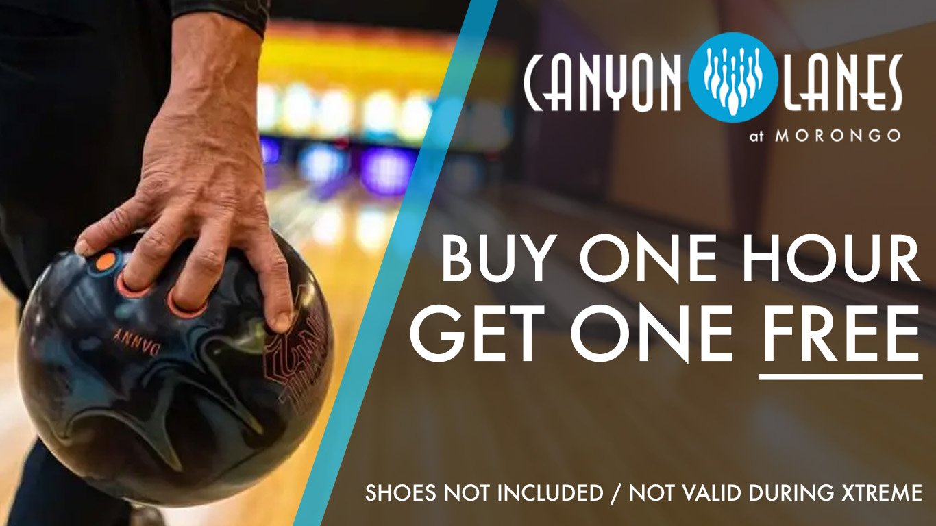 Canyon Lanes: Buy One Hour, Get One FREE! Click here to visit their website for more details (Link opens in a new window or app.)